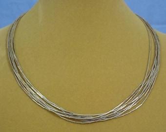 "Vintage ""Liquid Silver"" 18"" multi-strand neclace - VN039"