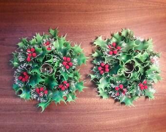 "Set of 2 Mistle Toe, Mid Century, Christmas Candle Holder Wreaths 7""D"