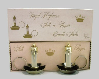 Candle Sticks Salt 'n Pepper, Royal Highness Candlestick Salt and Pepper Shakers by Davis in Original Box