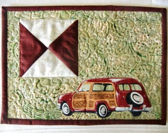 Father's Day Mug Rug, Ford Woody Coaster, Vintage Car Mini Quilt, Woodie Key Mat, Gift for Him, Man Cave décor, For His Office, Car Guy Gift