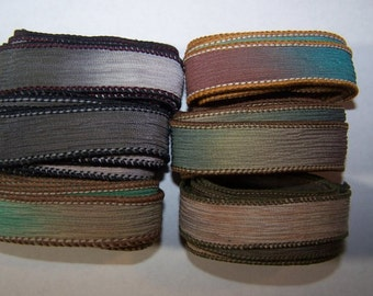 Discontinued/Experimental Ribbons/ Sassy Silks Hand Painted/Dyed Ribbons  Lot 100-0691