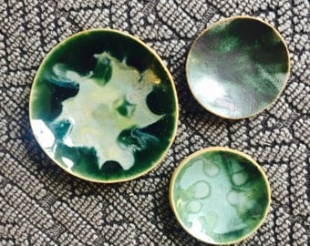 Mise en place ceramic bowls set of three blue green pottery dishes tropical pattern for chefs