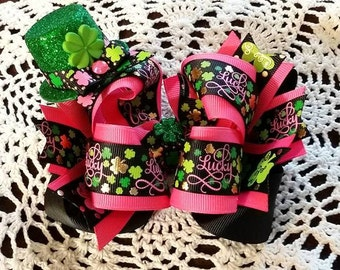 St Patrick's Day Bow...St Patty's Day Bow..Irish Hair Bow..Hot pink and black Bow...Pink and Green Bow..St Patricks Bow..St Pattys Bow