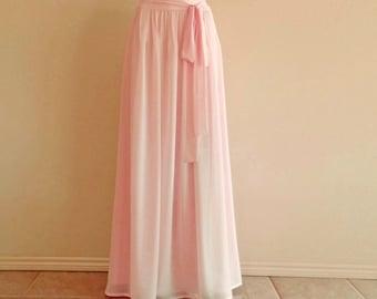 Blush Pink Floor Length Skirt. Blush Pink Bridesmaid Skirt. Maxi Skirt. Long Chiffon Skirt.