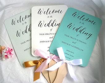 Wedding Fans Rustic Wedding Program Fan Rustic Fans Ivory Turquoise Mint Green Ivory Wedding Programs Paddle Fan Program Custom Any Color