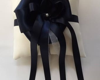 Something Blue - Navy Blue Satin Ribbon Flower - Wedding Ring Pillow Gift - Ring Bearer Pillows - Ivories or Whites - Duchess Satin