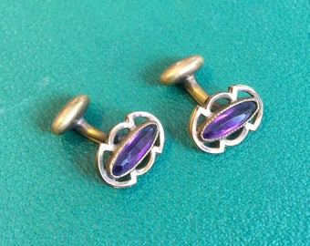 Antique Gold and Amathyst Petite Cuff Links