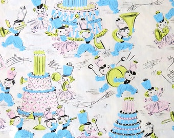 Vintage Kaycrest Juvenile BIRTHDAY Gift Wrap - Wrapping Paper - Pastel Yarn PEOPLE Instruments and CAKES - 1950s