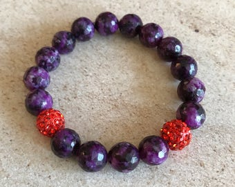 Purple and orange stretch bracelet