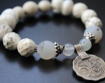 Coin charm gemstone bracelet neutral stretch spring bracelet boho primitive tribal stacking bracelet Bali sterling bracelet Naga bracelet