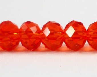 "Rondelle Crystal Beads 6x4mm (4x6mm) Dark Red-Orange Crystal Rondelle Beads, Chinese Crystal Glass Beads on an 8 1/2"" Strand with 49 Beads"
