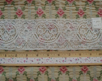 Antique French 1920s Salesman Sample Ivory Alencon Tulle Net Floral Highly Detailed Embroidered Lace Victorian Dress Trim Flapper Doll