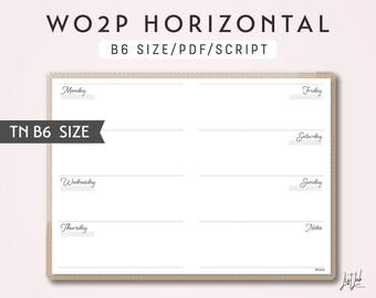 B6 TN Week on 2 Pages WO2P Horizontal - Printable Traveler's Notebook Insert - Script Theme