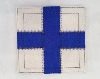 Nautical signal flag letter X wool felt coaster