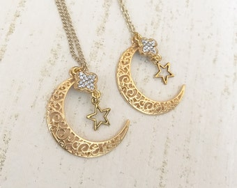 Crescent Moon necklace - star necklace, moon, star, charm, crystal,  sparkle, charm necklace, gold necklace, crescent moon, jewellery