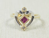Unique Versatile 14K Two Tone Yellow & White Gold 0.34ctw Princess Cut Ruby Gemstone Diamond Heart Reversible Ring Size 7.25 FREE SHIPPING!