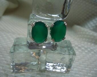 Oval Cut Green Botswana Agate Earrings in Sterling Silver  #1945