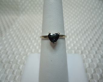 Heart cut Blue Green Sapphire Ring in Sterling Silver   #1954
