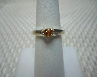 Round Cut Peach Sapphire Ring in Sterling Silver   #1959