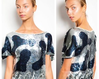 S.A.L.E was 120 now 75 fab vintage 60s/70s SWEE LO animal print sequin beaded pearls crop top blouse