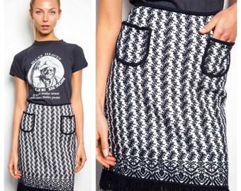 S.A.L.E was 675 now 600 amazing vintage CHANEL black & white knit tweed pocket fringe skirt