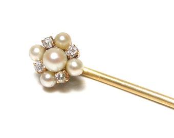 14k Yellow Gold Pearl and Diamond Pin - VJSE # 1257