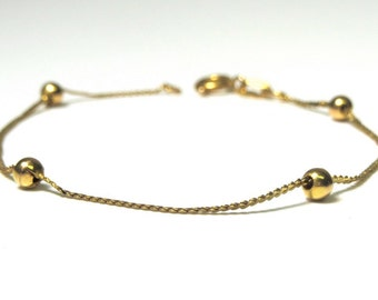 Vintage 14k Yellow Gold Bracelet with Ball Beads - Weight 1.5 Grams - Chain Bracelet # 2038