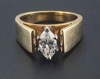 Vintage Diamond Engagement Ring -  14K Yellow Gold Marquise Diamond Ring - 3/4 Carat - VS - Size 6 - Wedding - Promise Ring # 4278