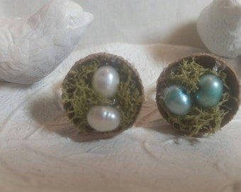 Very Unique Acorn Bird Nest Ring With Freshwater Pearl Eggs