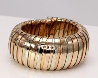 Stunning Vintage Carlos Weingrill Designer Tubogas Bracelet 18k Gold Made In Italy RARE & Collectable Handmade Piece