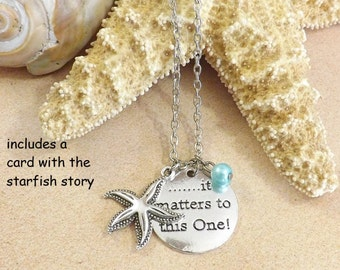 Starfish Necklace, Teacher Gift, It Matters To This One, Starfish Story, Make a Difference, Beach Jewelry, Inspirational Adoption Necklace