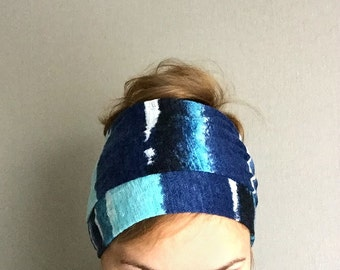 Blue Long Head Scarf Jersey Head Wrap, Self Tie Head Band, hair loss head cover headwrap headscarf thin scarflette neck bow headscarves