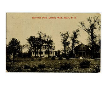 Minot ND RPPC - Eastwood Park Looking West - Antique Postcard