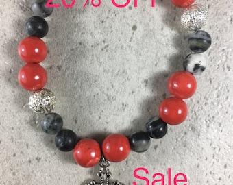 Men's Stretch Black and Red Beaded Spiritual Bracelet, Faith Jewelry, Rosary Beaded Bracelet, Charm Bracelet