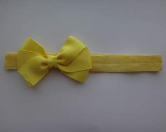 Yellow Three Loop Butterfly Headband, 3-6 Months