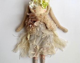 Sleeping Beauty, Spring Bunny Doll, Handmade Doll, Cloth Art Doll,  Flowers Crown, OOAK Doll, Art Doll