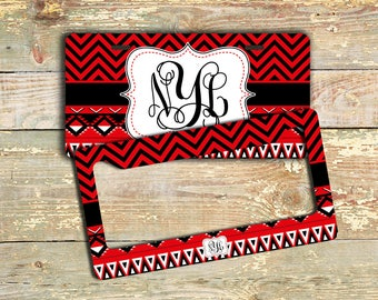 Red license plate monogrammed car tag or frame , Aztec car tag red black ,  Tribal car accessory bike accessories bike license plate  (1299)