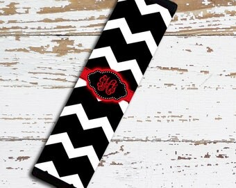 Cute monogrammed padded seat belt cover, Chevron Car accessory, Personalized red auto decor for her, Black white chevron with red (1001)