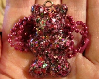Pink Gummy Bear Necklace-Pink Chunky Glitter-Kawaii Gummy Candy-Handmade Resin Pendant Jewelry