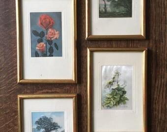 Batch vintage French frames printed scene & flower on silk precious textile fabric retro home decor boudoir item