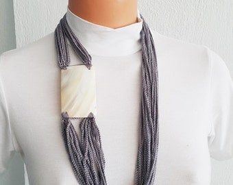 Gray Fashion Pearl sea shell necklace scarf ,mother of pearl nacre  - Bridal jewelry, Bridesmaid jewelry / with nacre, 100% Cotton,  Unique