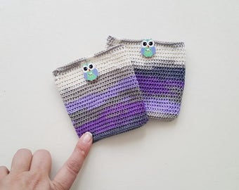 """Purple  and OWL Crochet coin purse  -  (4""""), childs money purse, crochet small purse, credit card purse,  cards small purse,"""