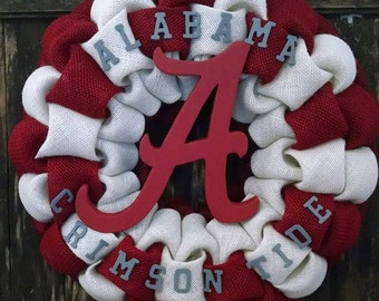 Roll Tide!  Alabama Crimson Tide Burlap Wreath