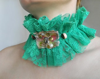 Mint green lace choker collar Ruffle high collar necklace Neck corset Lace collar Textile necklace Neck ruff Choker necklace with beads
