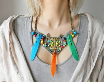 Boho colorful feather necklace Leather beaded necklace, Boho fashion Leather bib necklace with multicolor beads Contemporary funky necklace