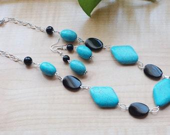 Turquoise/Black Necklace Set, Women's Blue Necklace, Blue Statement Necklace, Black Necklace