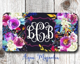 Watercolor Flower Bouquets - Personalized License Plate - Watercolor Floral Roses - Car Tag - Monogrammed License Plate Frame
