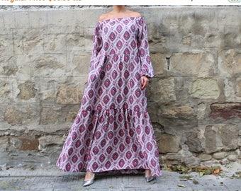 ON SALE Maxi dress/ Long dress/ Boho Dress/ Plus size dress/ off the shoulders dress/ Party Dress/ Long sleeves dress
