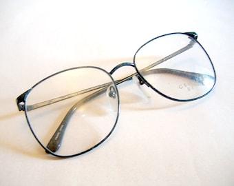 Vintage Geoffery Beane 1980s Deadstock Eyeglasses Frames Black / Grey Wire Rimmed Glasses