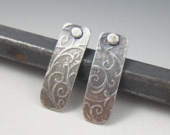 Silver Post Earrings, Swirl Earrings, Handmade Earrings, Rustic Earrings, Rectangle Earrings, Silver Stud Earring